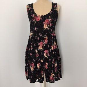 Retro Vintage 90s Floral Polka Dot Mini Dress